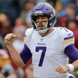 Minnesota Vikings quarterback Case Keenum (7) celebrates wide receiver Stefon Diggs' touchdown during the first half of an NFL football game against the Washington Redskins in Landover, Md., Sunday, Nov. 12, 2017. (AP Photo/Mark Tenally)